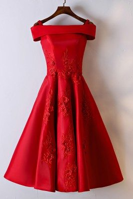 Gorgeous Red Off Shoulder A...