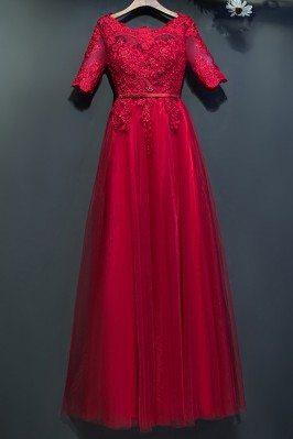 Elegant Short Lace Sleeve...