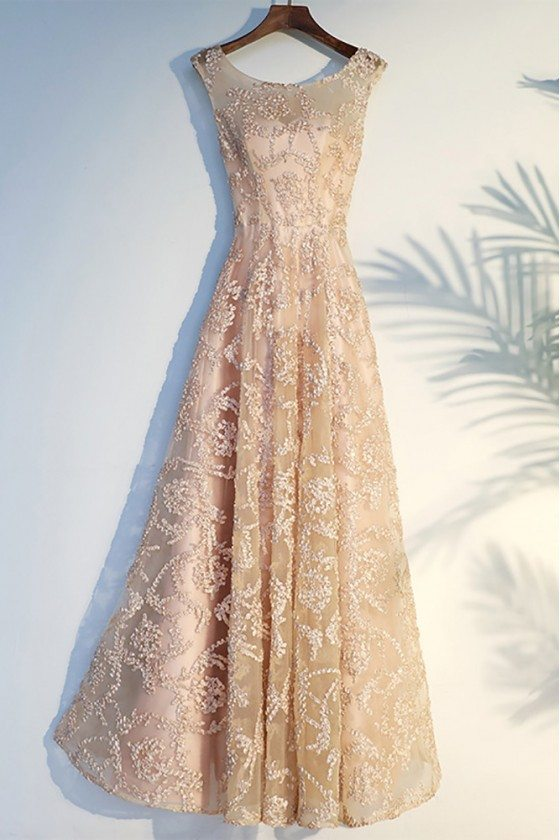 Formal Long Champagne Long Prom Party Dress Lace Sleeveless