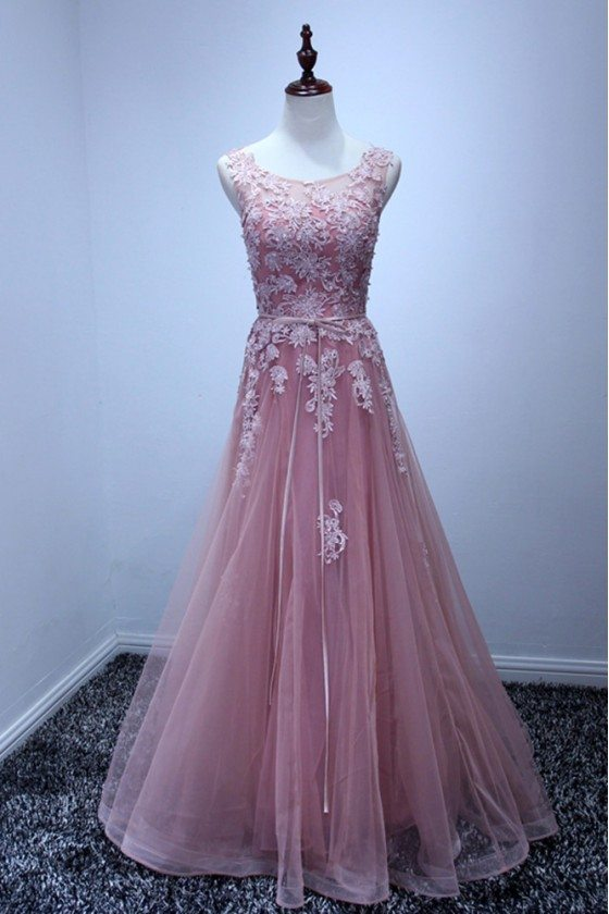 Classy Graceful Pink Long Prom Dress With Lace Top 2018