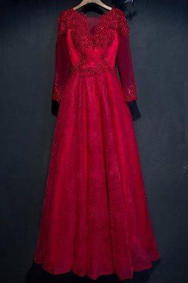 Burgundy Long Sleeve Lace...
