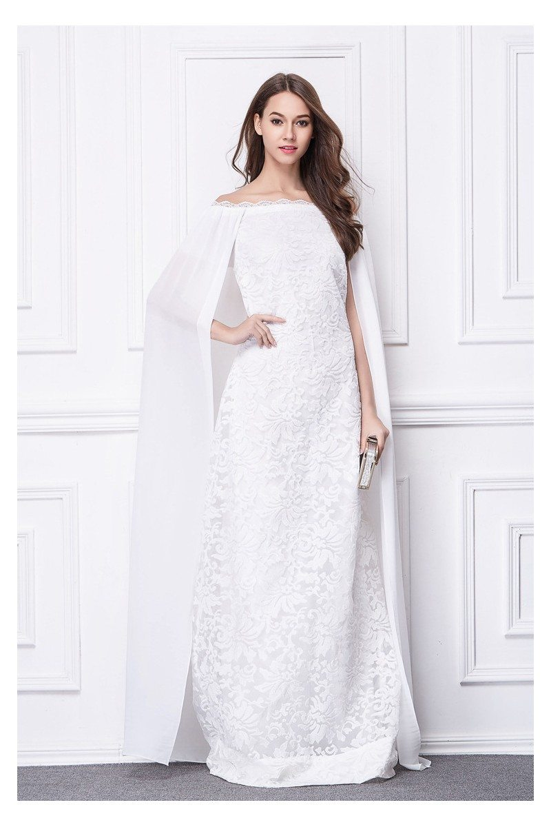 Long White Cape Style Embroidery Evening Dress - $131 #CK487 ...