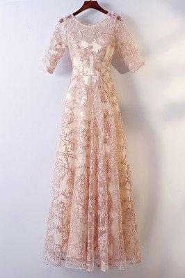 Long Champagne Lace Formal...