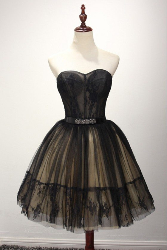 Strapless Black Short Graduation Dress With Lace For 2018 Juniors