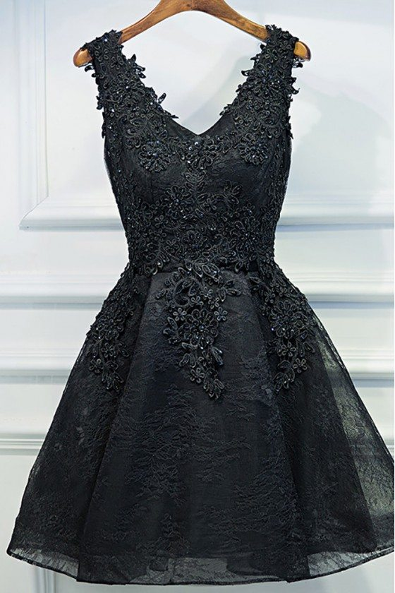 Chic Short Little Black Lace Prom Homecoming Dress V-neck Sleeveless