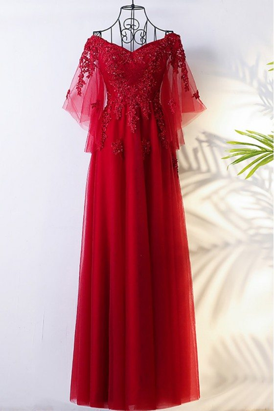 Flowy Burgundy Long Tulle Formal Party Dress With Butterfly Sleeves