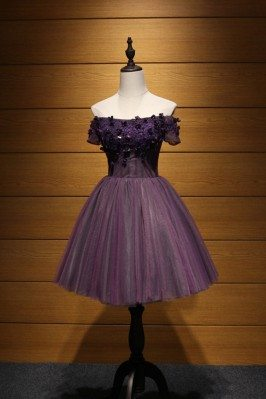 Off The Shoulder Purple...