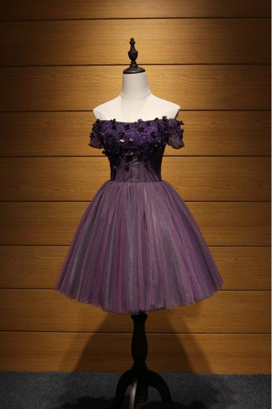 Off The Shoulder Purple Homecoming Dress Short With Floral Beading