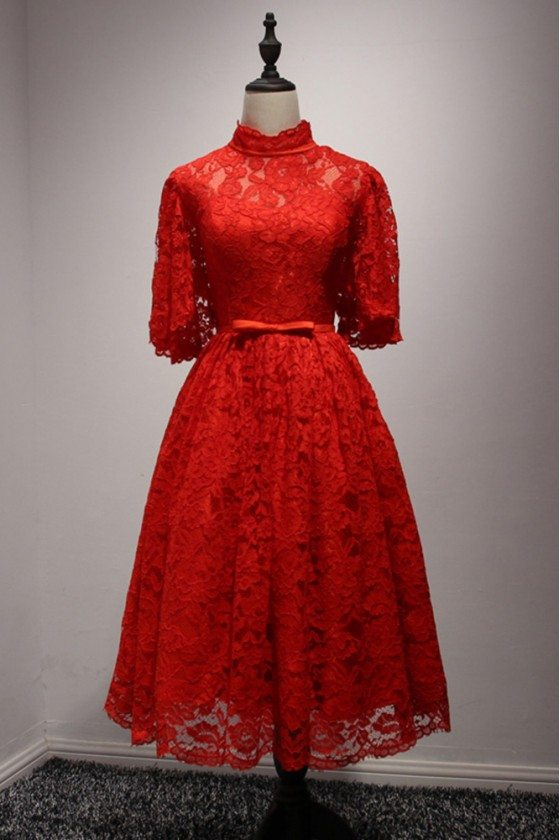 Knee Length Modest Red Homecoming Dress All Lace With Puffy Sleeves
