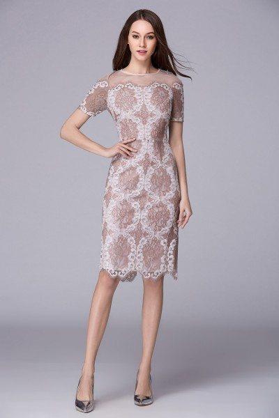 Unique Lace Short Sleeve Bodycon Dress