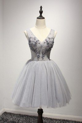 Short Grey Tulle Beading...
