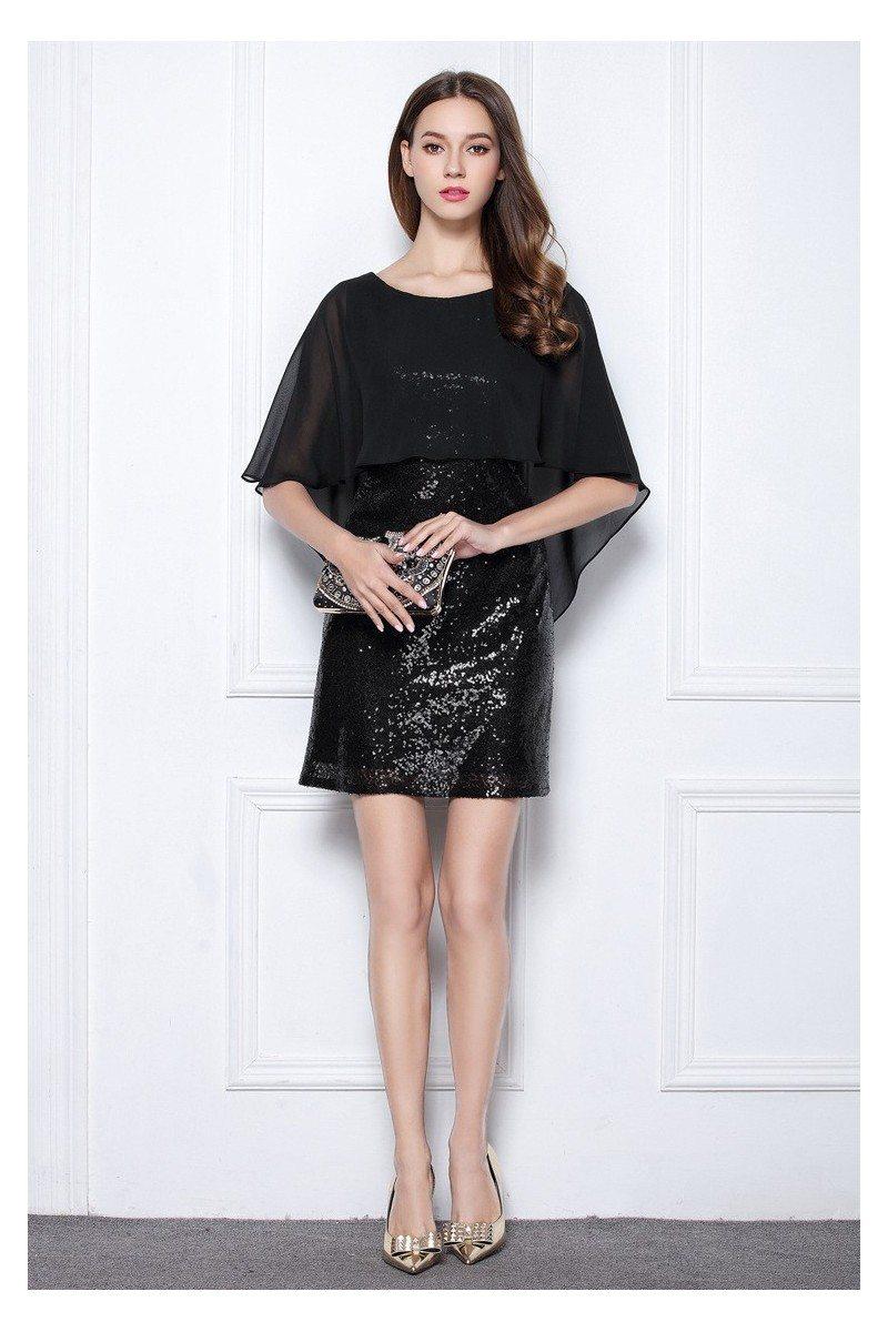 little black sequins short cocktail party dress -  63  dk378