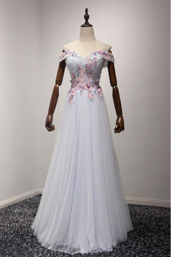 Gorgeous Off The Shoulder Evening Dress Long With Pink Florals