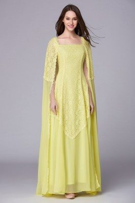 Cape Style Yellow Lace Chiffon Long Formal Gown