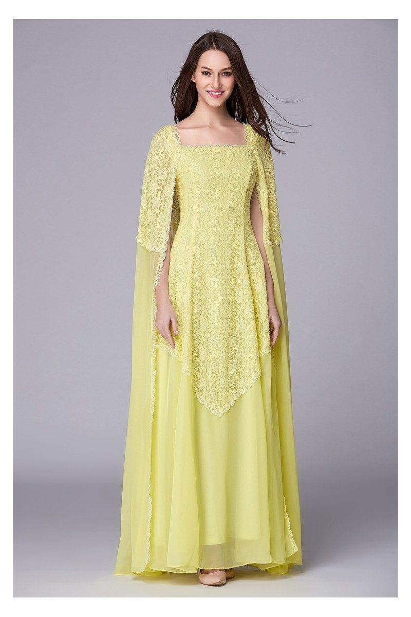 Cape Style Yellow Lace Chiffon Long Formal Gown - $141 #CK500 ...