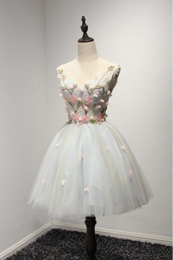 Unique Short Floral Graduation Dress With Beading For Teen Girls