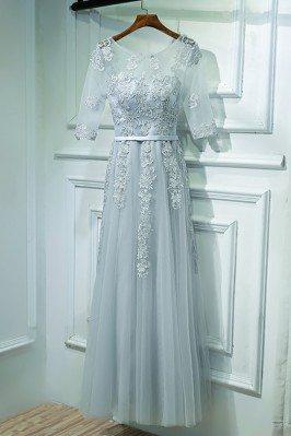 Elegant Grey Short Sleeve...