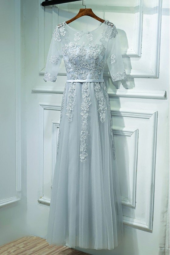 Elegant Grey Short Sleeve Prom Dress Long With Lace