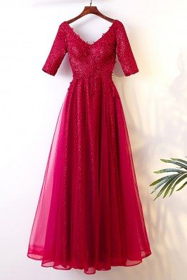 Burgundy Long Tulle Party...