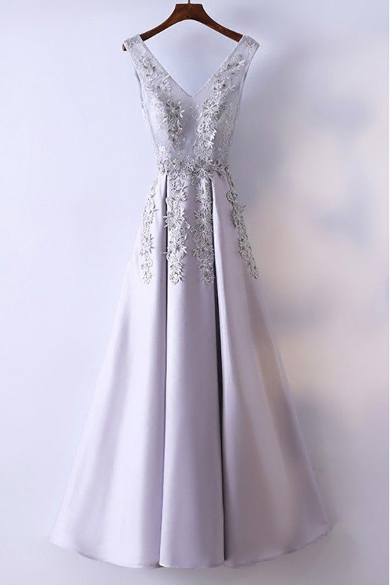 Silver V-neck Long Satin Prom Party Dress Sleeveless