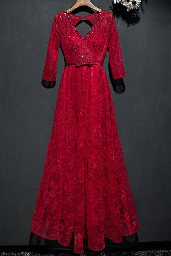 Elegant Burgundy Sequined Lace Party Dress Open Back With Sleeves
