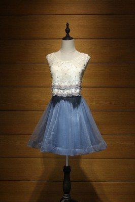 Two Piece Blue Prom Dress...