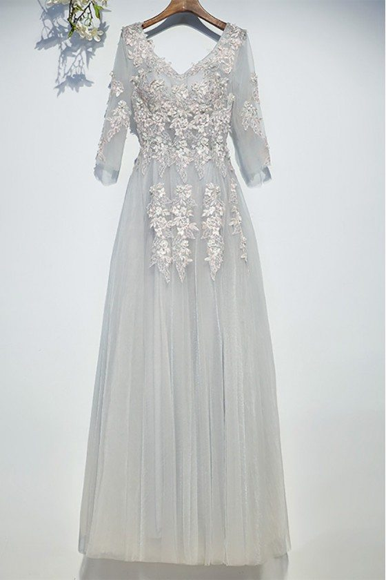 Charming Grey Lace Long Prom Dress Tulle V-neck With Sleeves