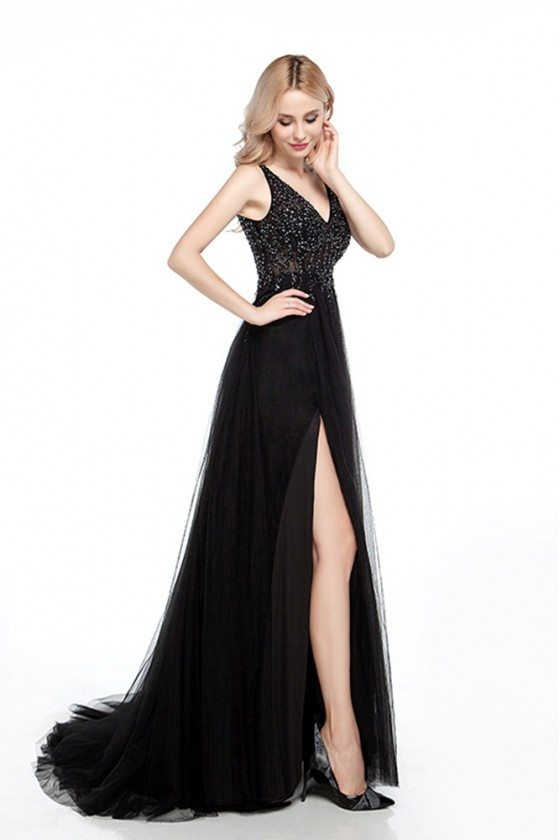 Tight Black Long Prom Dress With Slit And Sparkly Beading Top
