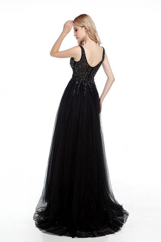 Tight Black Long Prom Dress With Slit And Sparkly Beading Top 269