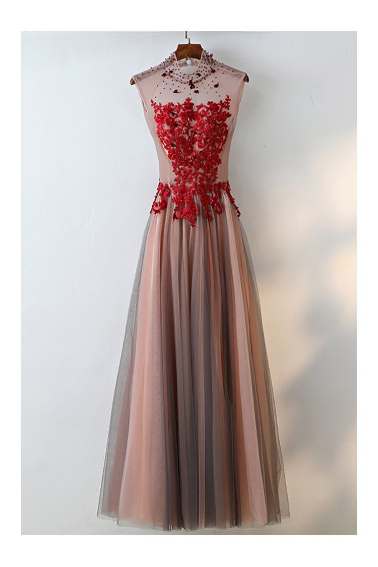 Unique High Neck Black Tulle And Red Lace Prom Dress Sleeveless ...