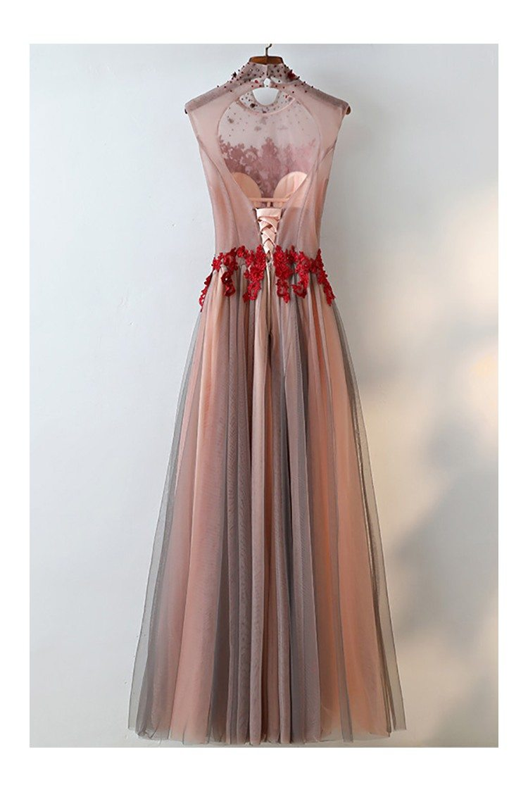 Unique High Neck Black Tulle And Red Lace Prom Dress