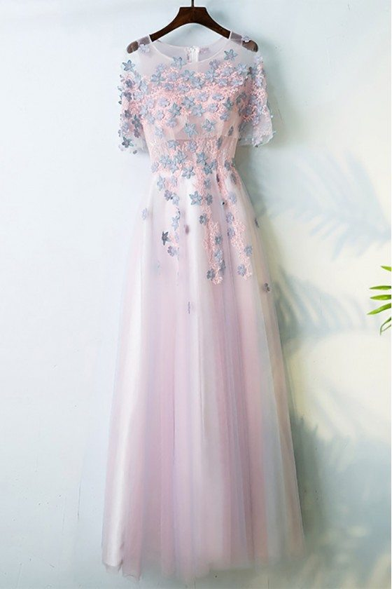 Cute Pink Long Prom Party Dress With Flowers Sleeves For Juniors