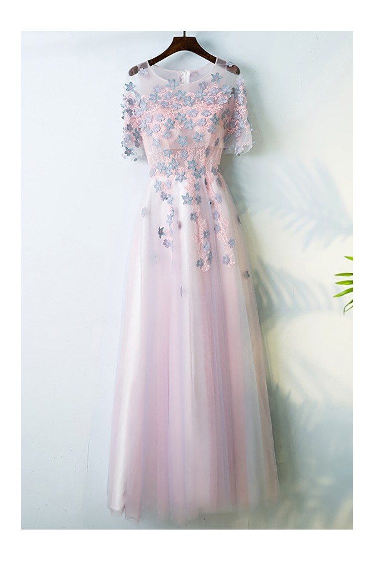 Cute Pink Long Prom Party Dress With Flowers Sleeves For