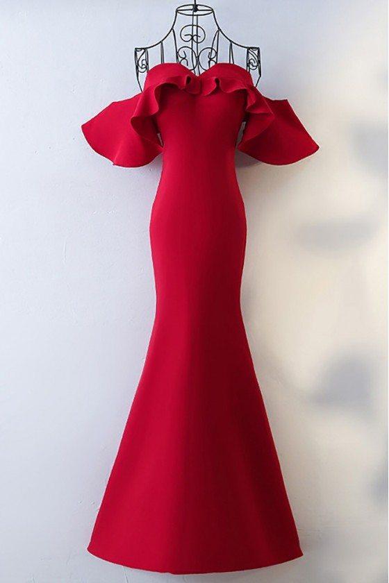 Tailor-made Burgundy Mermaid Long Formal Dress Off Shoulder