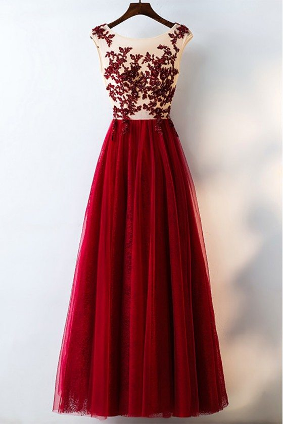 Formal Red Sequined Tulle Prom Dress Long With Lace