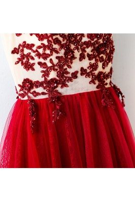 One Shoulder Hot Pink Beaded Fall Party Dresses for Girls sch896