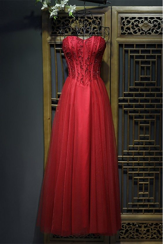 Unique Long Burgundy Corset Prom Party Dress For Formal