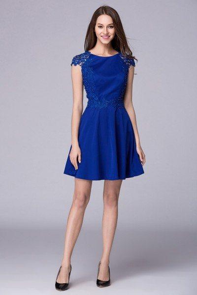 Royal Blue Beaded Lace Cap Sleeve Short Dress