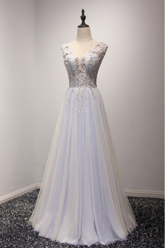 Elegant Bluish-grey Beaded Evening Dress Long With Lace