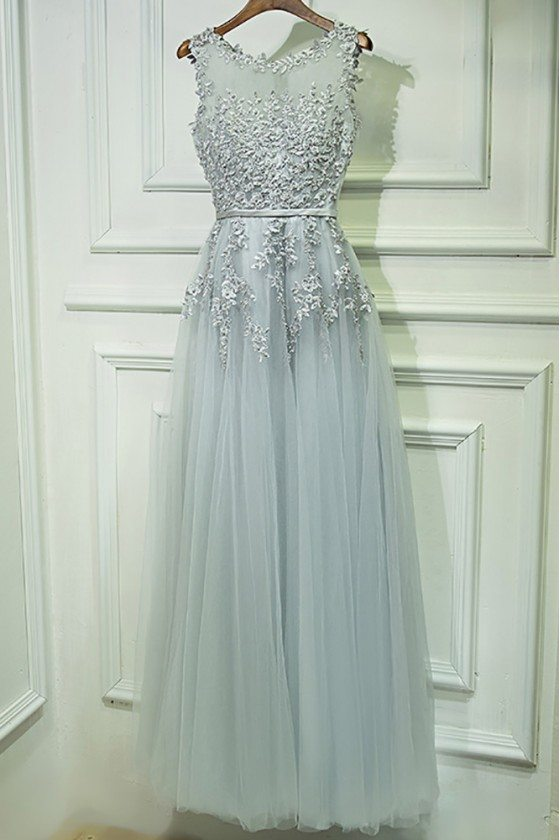 Gorgeous Grey Lace Tulle Prom Dress Long Sleeveless