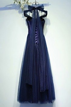 vintage chic navy blue corset prom dress long halter