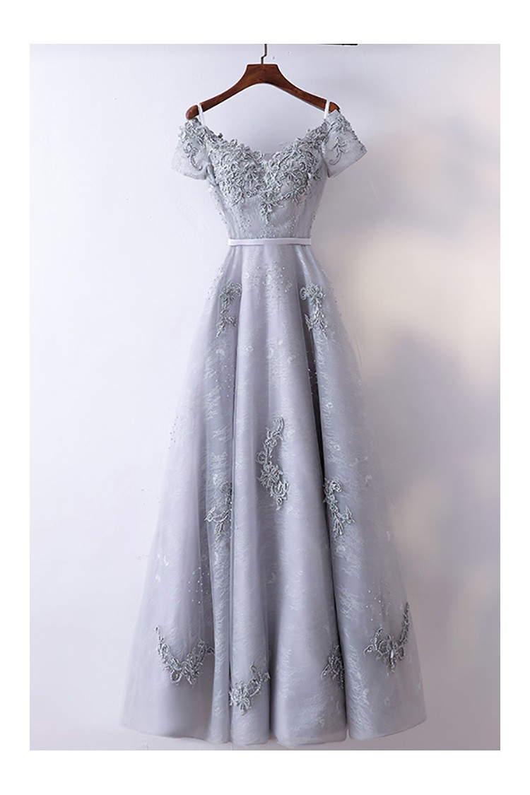 Special A Line Grey Long Prom Dress With Short Sleeves - $118 ...