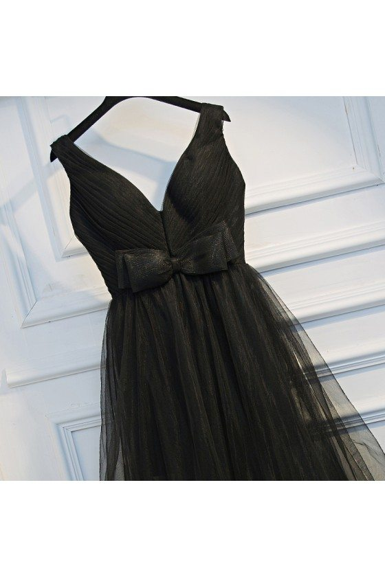 Super Cute Long Black Prom Dress V-neck With Tiered Tulle - $109 ...