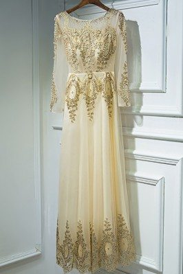 Luxury Long Gold Embroidery...
