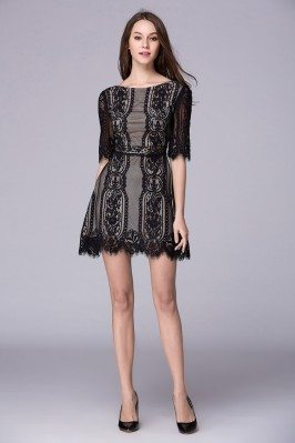 Lace Half Sleeve Short Party Dress With Open Back