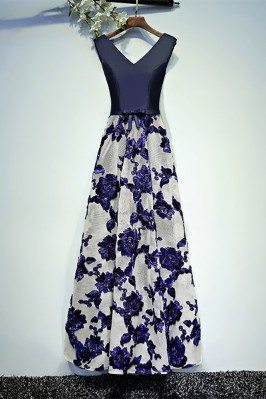 Chic Navy Blue Long Formal...
