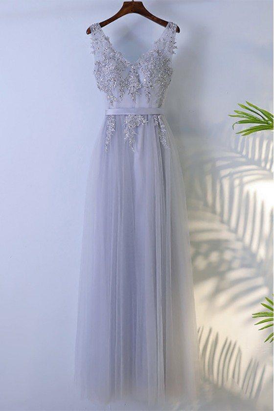 Grey Beaded Long Tulle Prom Dress V-neck Sleeveless