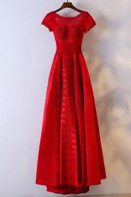 Modest Red Short Sleeve...