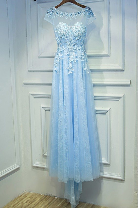 Gorgeous Sky Blue Long Prom Dress With Cap Sleeves Applique Lace