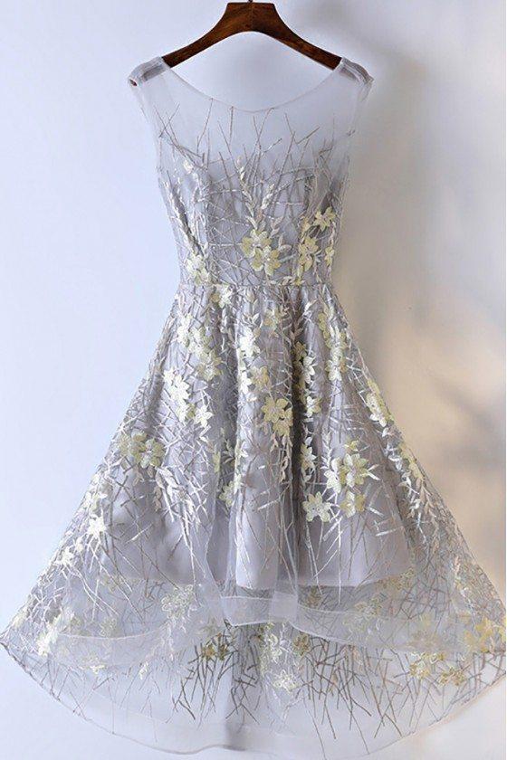 Unique Flower Lace Short Prom Party Dress A Line